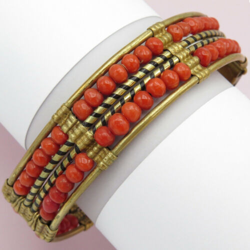 Vtg 1930s Art Deco Egyptian Revival Natural Dark Pink Coral Bead Bangle Bracelet