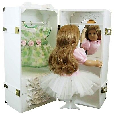 "NEW Furniture Storage Trunk Case For 18 "" Inch American Girl Doll Clothes WHITE"
