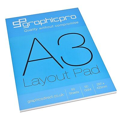 Layout Pad A3, Pure White Paper 50gsm, 80 Sheets, 420 X 297mm By Graphicpro 0