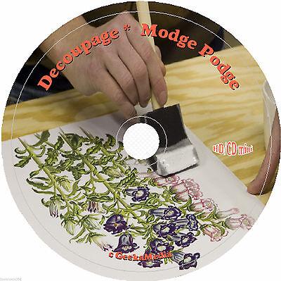 How to Decoupage and Modge Podge 7 Books on CD paper glue print napkin rice art