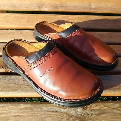 Josef Seibel Max Tan Leather Clogs Size EU 39 - UK 6