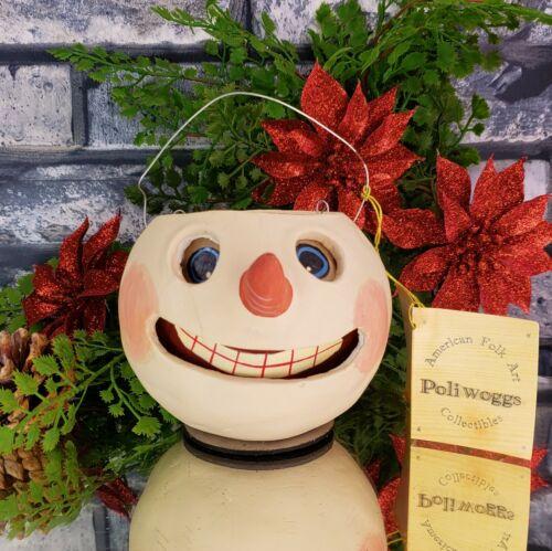 Vintage Poliwoggs SNOWMAN Bucket Pail 2000 Folk Art Halloween *NOS CMAS Gift #2