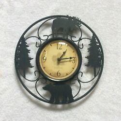 SMART TIME Cabin Country WALL CLOCK American Timekeeping Co MOOSE BEAR TREES