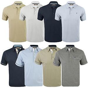 New-Farah-Mens-Polo-Jersey-Poly-Cotton-Beige-Grey-Blue-Weekend-Pique-T-Shirt