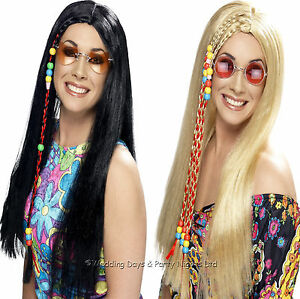 Long-Straight-Wig-With-Plaits-Beads-60s-70s-Hippie-Hippy-Fancy-Dress-Mens-Ladies