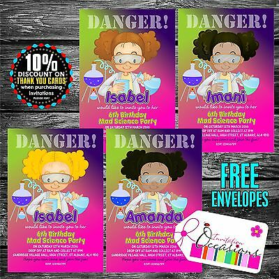 Personalised Birthday Invitations Mad Science Party x - Science Birthday