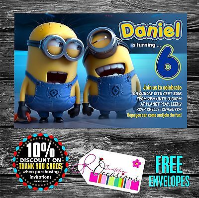 Personalised Birthday Invitations Despicable Me Minion x 5](Personalized Minion Birthday Invitations)