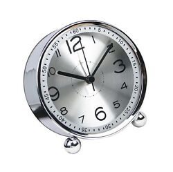 4-inch Table Clock Ultra-quiet Metal Small Alarm Clock, Classic... Free Shipping