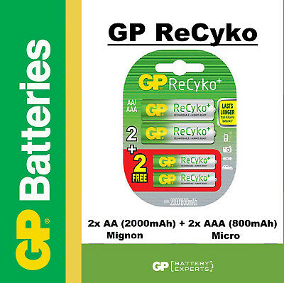 1 x SET 2+2 GP ReCyko+ NiMH Akku Mignon AA 2000 mAH AAA 800 mAh Akku Batterie