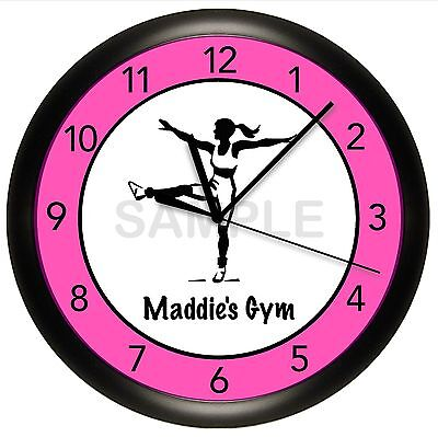 Fitness Wall Clock Dance Aerobics Personalize Customize Pink Gym Studio Decor
