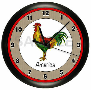ROOSTER-WALL-CLOCK-COUNTRY-KITCHEN-PERSONALIZED-ADD-YOUR-OWN-TEXT-CHICKEN-DECOR