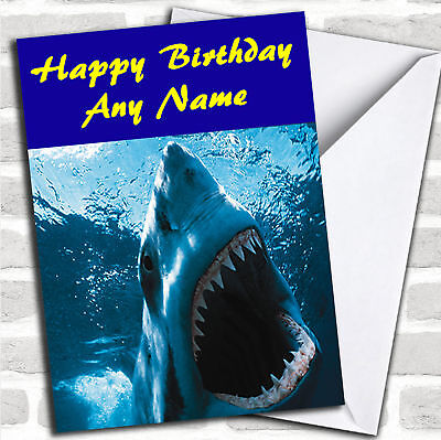 Scary Great White Shark Personalized Birthday Card - Personalized Birthday Cards