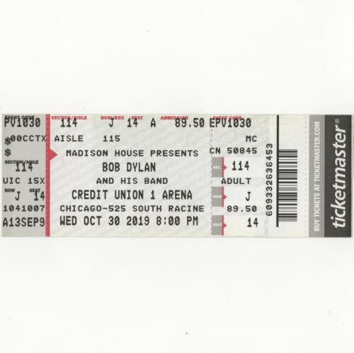 BOB DYLAN Full Concert Ticket Stub CHICAGO IL 10/30/19 CREDIT UNION 1 ARENA Rare