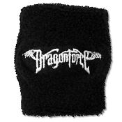 Dragonforce White Name Logo Embroidered Black Terrycloth Wristband New Official