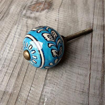 Vintage chic turquoise white drawer knob ceramic door for Turquoise door knobs