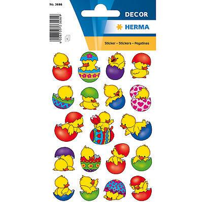 Schmuck-Etikett DECOR Küken im Ei, bunt, 60 Stück Herma Ostersticker Sticker ...