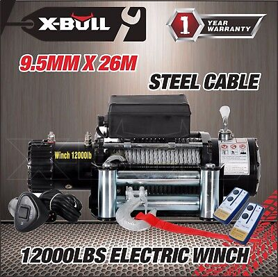 X-BULL 12V 12000LBS Electric Winch Towing Truck Trailer Steel Cable Off Road