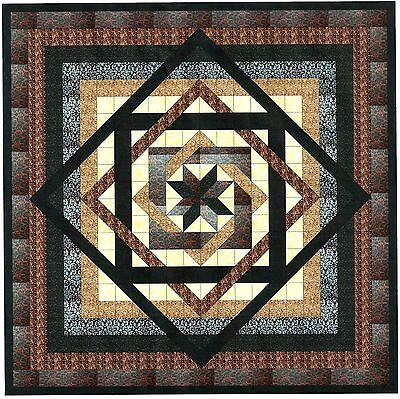Easy Quilt Kit/Tumbling Star/Black,Brown,Cream/ Fabrics Ready To Sew***