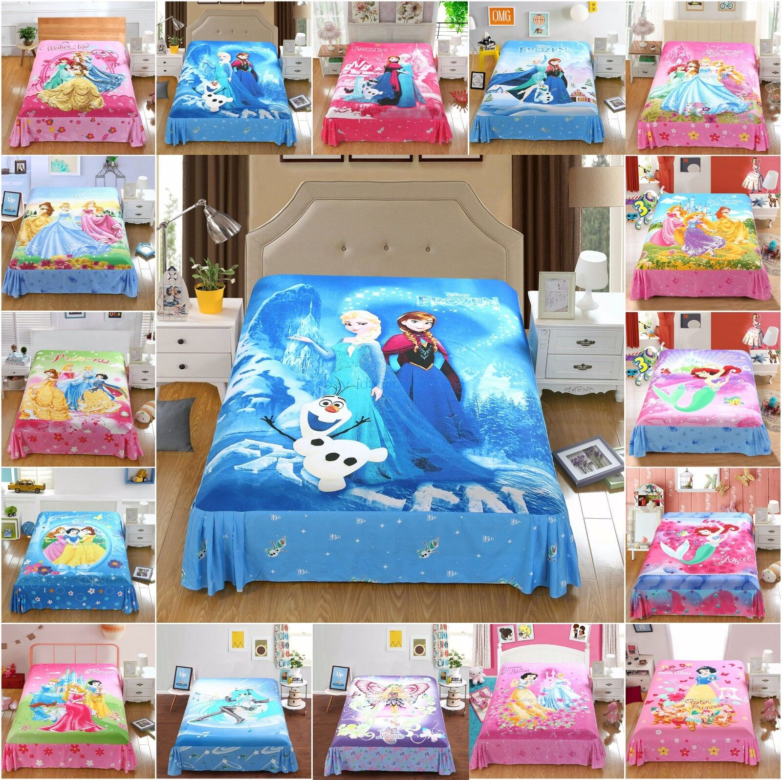 Disney Princess Frozen Twin/Full/Queen Bed Flat Sheet Set &