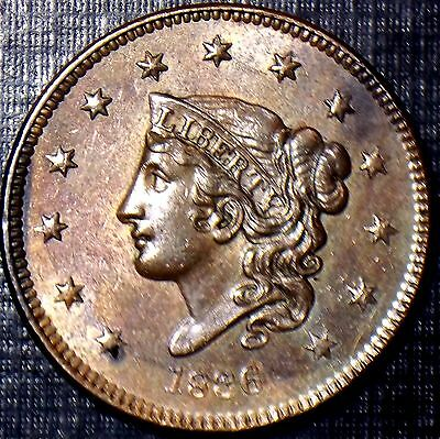 Click now to see the BUY IT NOW Price!  1836 MATRON HEAD CENT R/B BU,MS,MS HIGH GRADE FULL DATE & DETAILS TONING
