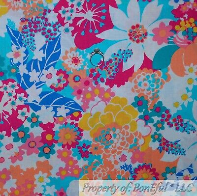 BonEful FABRIC Cotton Quilt Rainbow Bright FLOWER White Aqua Blue Retro NR SCRAP - Kids Rainbow Bright Costume