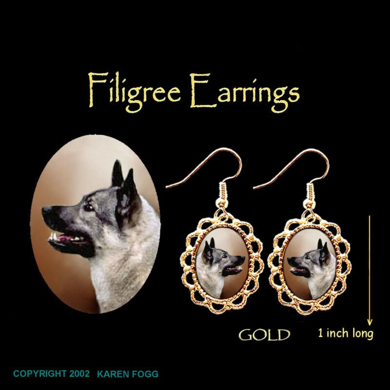 NORWEGIAN ELKHOUND - GOLD FILIGREE EARRINGS Jewelry