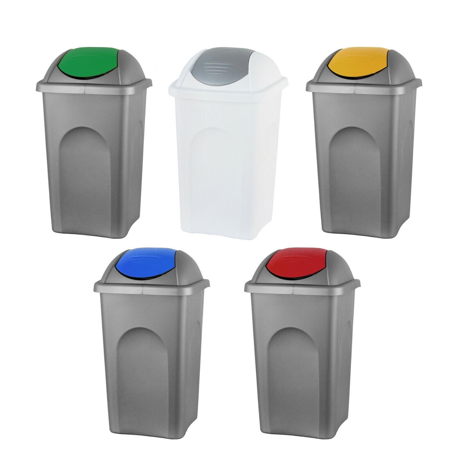 Mülleimer 60L groß Schwingdeckel Abfall Sammler Behälter Müll Tonne Papierkorb