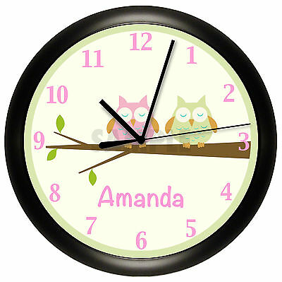 OWL NURSERY WALL CLOCK PERSONALIZED GIFT WALL DECOR PINK GREEN BEDROOM BABY (Baby Nursery Wall Clock)