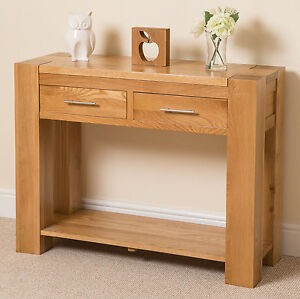 Kuba chunky solid oak console hall table living dining ebay for Dining hall furniture