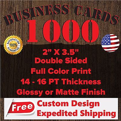 1000 CUSTOM FULL COLOR BUSINESS CARDS (FREE DESIGN & FREE SHIPPING)