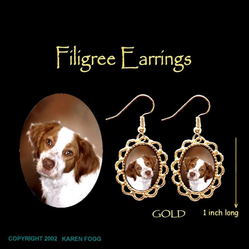 BRITTANY SPANIEL DOG - GOLD FILIGREE EARRINGS Jewelry