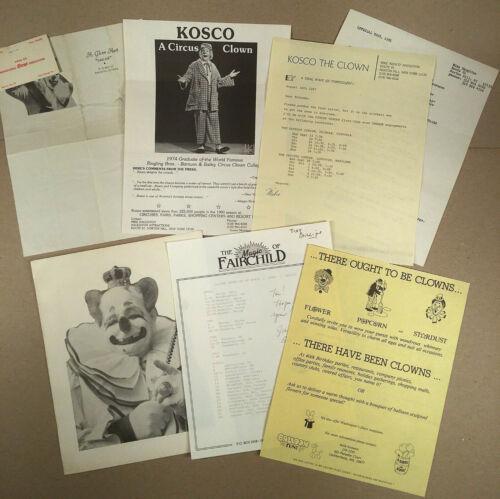 Lot Miscellaneous Vintage CIRCUS CLOWNS, FAIRCHILD MAGIC ACT Paper, Memorabilia