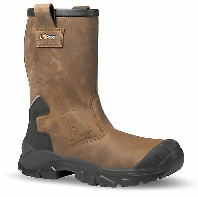 UPower Alaska S3 Brown Safety Lining Slip On Composite Toecap Rigger Work Boots