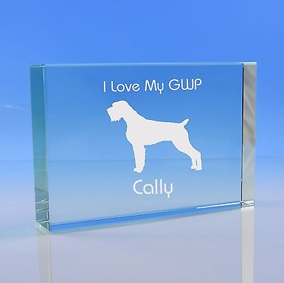 German Wirehaired Pointer Dog Gift Personalised Engraved Glass Paperweight
