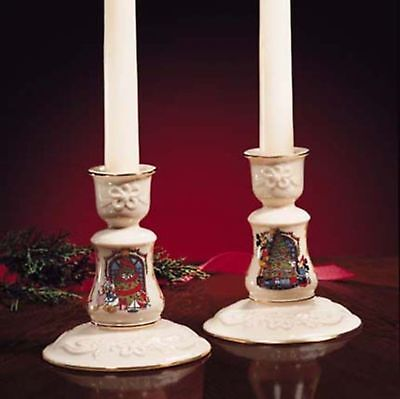 Lenox Disney Candleholders-Mickeys Shining Star-NEW-$136 VALUE-Mickey Mouse Xmas
