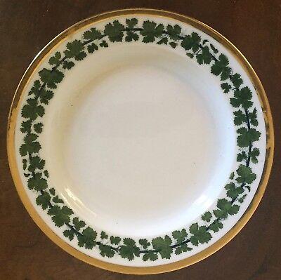 Antique German Meissen Porcelain Lunch Plate Green Napoleon Ivy Gold Gilt Rim