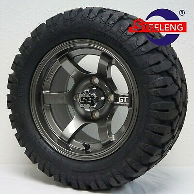"GOLF CART 12"" GUNMETAL GT WHEELS and 20"" STINGER ALL TERRAIN DOT TIRES"