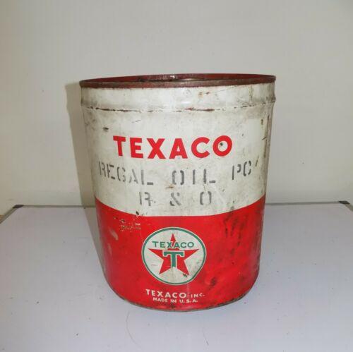 Vintage Texaco Regal Oil 5 Gallon Metal Can Bucket Handle Lid