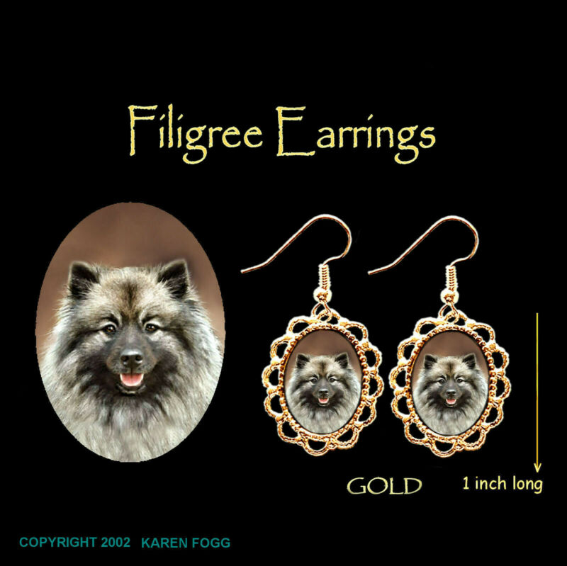 KEESHOND DOG - GOLD FILIGREE EARRINGS Jewelry