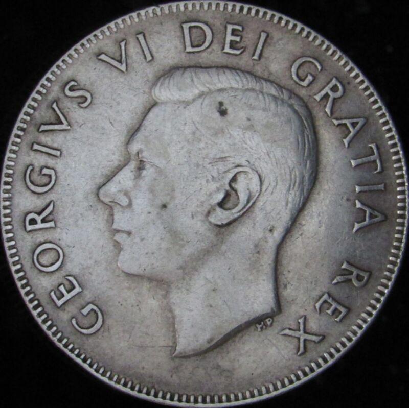 1949 Canada Silver 50 Cents (Fifty, Half) - KM# 45 - JG - XF