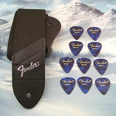 GUITAR STRAP ~ GENUINE FENDER ~ BLACK w/ SILVER LOGO + 10 HEAVY BLUE 351 PICKS