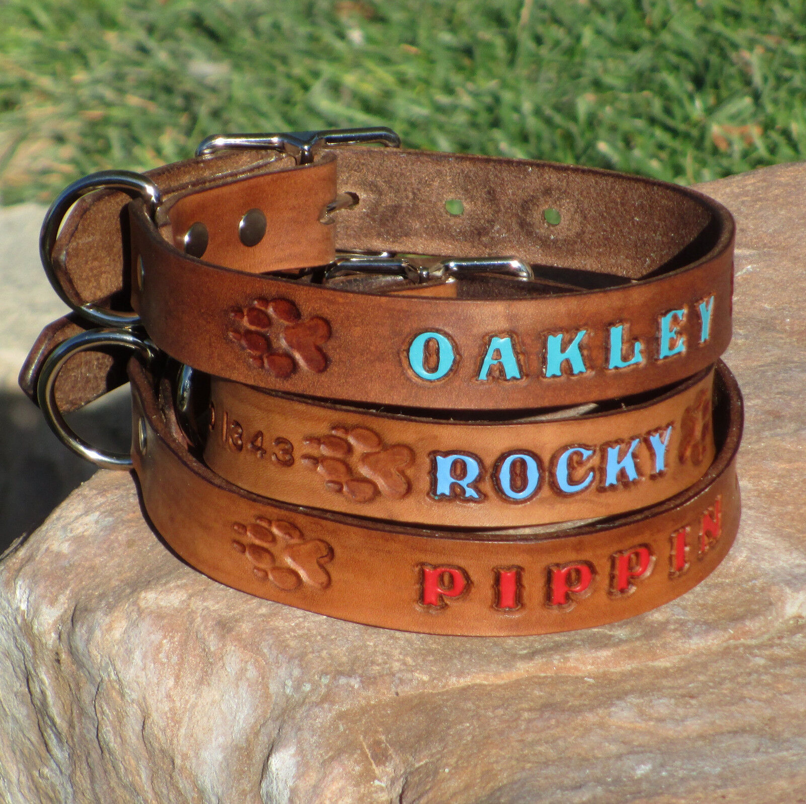 "Brown 1"" Real Leather Dog Collar, Personalized Pet Name, Optional Phone Number"