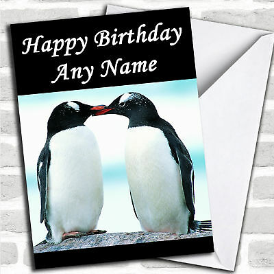Kissing Penguins Personalized Birthday - Personalized Birthday Cards