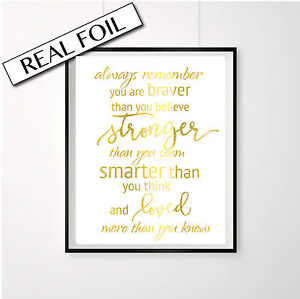 Winnie the Pooh Quote, Nursery Print, gold foil print, Always remember A4 poster