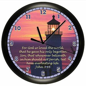LIGHTHOUSE-WALL-CLOCK-SCRIPTURE-JOHN-3-16-VERSE ...