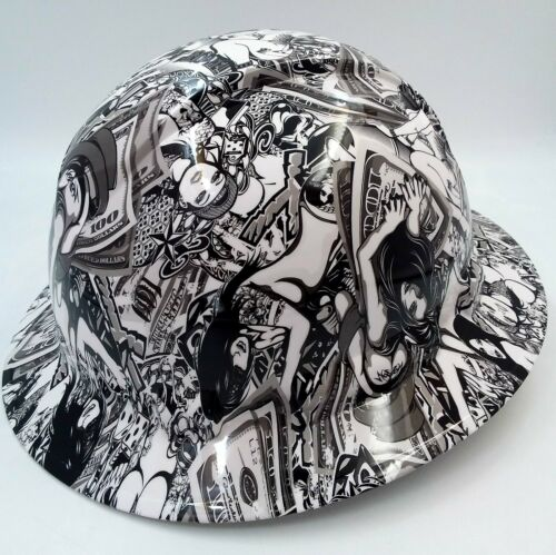 Hard Hat FULL BRIM custom hydro dipped , OSHA approved HUSTLER GIRLS NEW SUPER 1