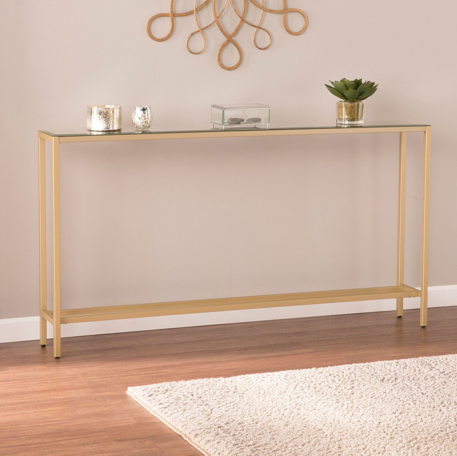 Narrow Long Console Table Mirrored Top Entryway Sofa End Hub Storage Gold Finish 689249875251 Ebay