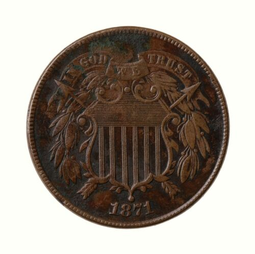 Raw 1871 Two Cent 2C Circulated Uncertified US Minted Copper Coin