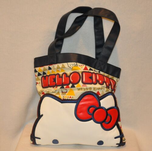 Loungefly Sanrio Hello Kitty Purse Bag Tote Canvas Faux Leather Red Yellow Blue