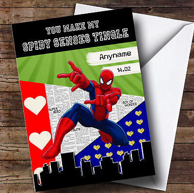 Funny Superhero Spiderman Personalised Valentines Card
